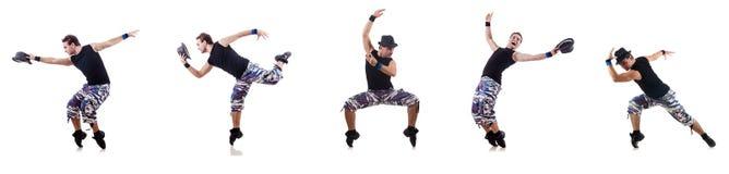 Der Tänzer lokalisiert auf dem weißen Hintergrund Lizenzfreie Stockfotos