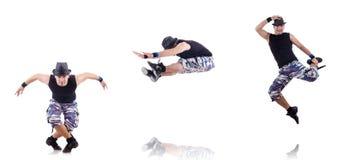 Der Tänzer lokalisiert auf dem weißen Hintergrund Stockfotografie