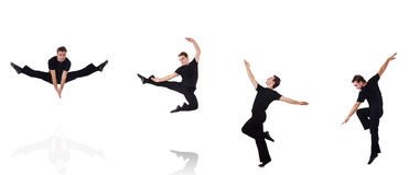 Der Tänzer lokalisiert auf dem weißen Hintergrund Lizenzfreies Stockfoto