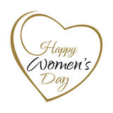 Der Tag der glücklichen Frauen Übergeben Sie Beschriftung auf dem Hintergrundrahmen von Herzen stock abbildung
