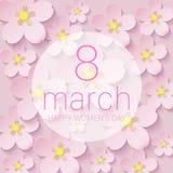 Der Tag der glücklichen Frauen - 8. März kürzte Feiertagshintergrund mit Papier Franc Lizenzfreie Stockfotografie