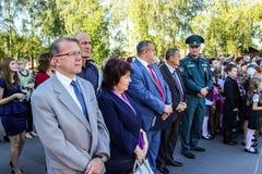 Der Tag des Wissens in der Schule der Gomel-Region des Republik Belarus Stockbild