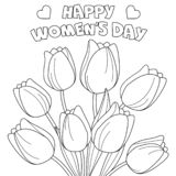 Der Tag Färbungsseite 'glücklicher Frauen ' lizenzfreie abbildung