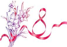 Der Tag der Frauen Karte mit Blumenstrauß von Blumen am 8. März grüßend lizenzfreies stockbild