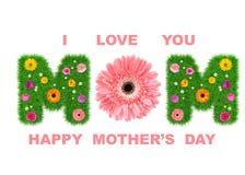 Der Tag der glücklichen Frauen machte vom Gras und von den bunten Blumen, Frühlingskonzept für Grafikdesigncollage 3d übertragen lizenzfreie stockfotos