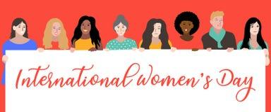 Der Tag der glücklichen internationalen Frauen, am 8. März stock abbildung