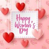 Der Tag der glücklichen internationalen Frauen mit Blumenhintergrund lizenzfreie stockfotos