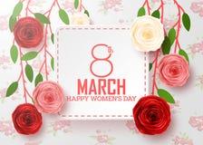 Der Tag der glücklichen internationalen Frauen mit Blumenhintergrund stockfotos