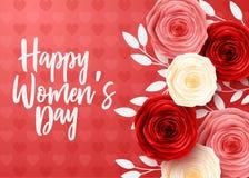 Der Tag der glücklichen internationalen Frauen mit Herzhintergrund lizenzfreie stockbilder