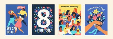 Der Tag der internationalen Frauen Wir können es tun Vektorschablonen für Karte, Plakat, Flieger und andere Benutzer stock abbildung