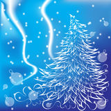Der Tannenbaum des neuen Jahres auf einem blauen Hintergrund lizenzfreies stockbild