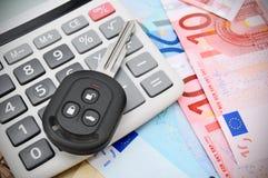 Der Taschenrechner und der Schlüssel Stockfotos