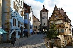 Der Tauber, Alemania del ob de Rothenburg, en la Navidad fotos de archivo