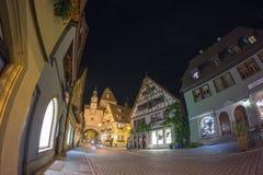 Der Tauber d'ob de Rothenburg à la soirée Photo libre de droits