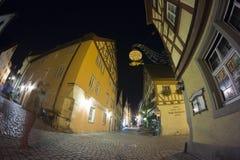 Der Tauber del ob di Rothenburg alla sera Fotografia Stock