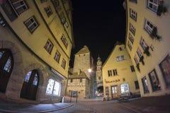 Der Tauber del ob di Rothenburg alla sera Fotografie Stock Libere da Diritti