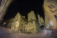 Der Tauber del ob di Rothenburg alla sera Immagini Stock
