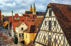 Der Tauber do ob de Rothenburg, Alemanha Foto de Stock Royalty Free