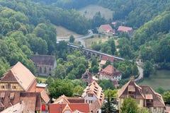 Der Tauber do ob de Rothenburg, Baviera, Alemanha Fotografia de Stock