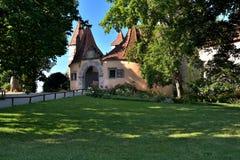 Der Tauber do ob de Rothenburg, castelo Foto de Stock