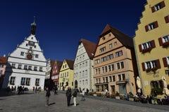 Der Tauber do ob de Rothenburg, Market Place, Alemanha Fotografia de Stock