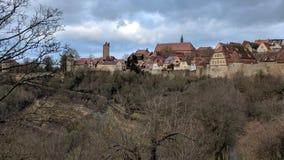 Der Tauber do ob de Rothenburg, vila alemão Fotografia de Stock Royalty Free