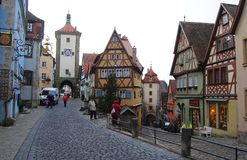 Der Tauber Ob, †«декабрь 2013 Германии Plonlein в der Tauber ob Ротенбурга в декабре Стоковая Фотография RF