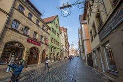 Der Tauber ob Ротенбурга, Германия - взгляд IV улицы Стоковое Изображение