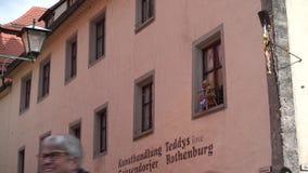 Der Tauber ob Ротенбурга, Германия - 31-ое марта 2018: Взгляд улицы der Tauber ob Ротенбурга, хорошо сохраненное средневекового сток-видео
