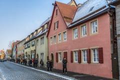 Der Tauber ob Ротенбурга, Германия - туристы Стоковые Фото