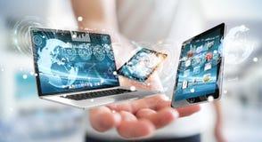Der Technologiegeräte des Geschäftsmannes Verbindungswiedergabe 3D miteinander stock abbildung