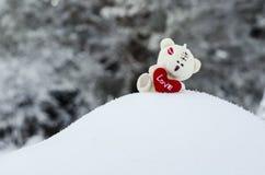 Der Teddybär des Valentinsgrußes betreffen den Schneekleinen hügel stockbild
