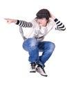 Der Teenager, der Tanz sperrend springt und tanzt Lizenzfreie Stockbilder