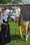 Der Teilnehmer des Festivals der historischen Rekonstruktion 'Kampf auf Neva' Lizenzfreies Stockbild
