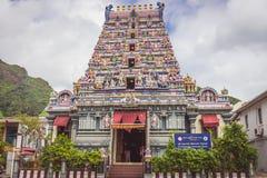Der Tempel Arul Mihu Navasakthi Vinayagar in Victoria, die Hauptstadt von Mahe-Insel, der einzige hindische Tempel in den Seychel lizenzfreie stockfotos