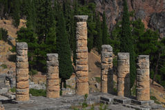 Der Tempel von Apollo in Delphi Stockfotos