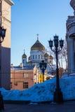 Der Tempel von Christus der Retter in Moskau, die weiße Kirche Stockfotografie