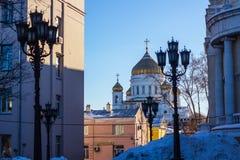 Der Tempel von Christus der Retter in Moskau, die weiße Kirche Stockfotos