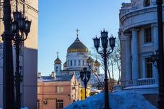 Der Tempel von Christus der Retter in Moskau, die weiße Kirche Stockbild