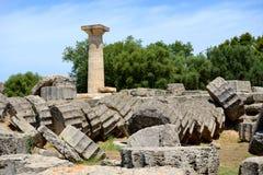 Der Tempel von Zeus-Ruinen in der alten Olympia Stockbilder