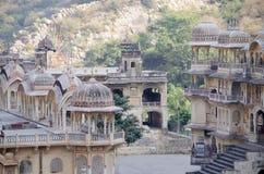 Der Tempelkomplex Affe-Tempel Galta Li in Indien Jaipur Stockfotografie