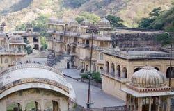 Der Tempelkomplex Affe-Tempel Galta Li in Indien Jaipur Stockfoto
