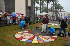 Der Teppich von Blumen La Orotava Teneriffa Stockfotos