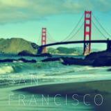 Der Text San Francisco und Golden gate bridge Lizenzfreies Stockbild