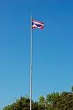 Der thailändische Flaggenstand vor Schule Lizenzfreie Stockfotos
