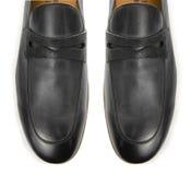 Der Tipp von den männlichen Schuhen lokalisiert auf Weiß Lizenzfreies Stockbild