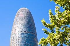Der Torre Agbar Wolkenkratzer in Barcelona Lizenzfreie Stockfotografie