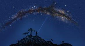 der träumerischen sternenklaren Himmelillustration des sternenklaren Himmels oben betrachten lizenzfreie stockbilder