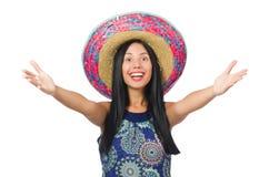 Der tragende Sombrero der jungen attraktiven Frau an stockfotos