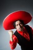 Der tragende Sombrerohut der Person im lustigen Konzept Lizenzfreies Stockbild